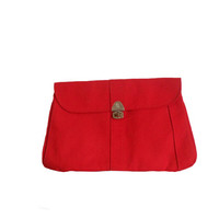 Vintage Red Purse Clutch Linen Oversize Bag - FS Originals