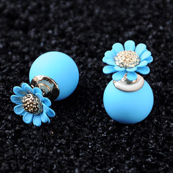 New Summer 5 Colors Women Luxury Brand Double Pearl Earrings Personality Flower