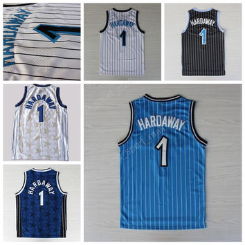 Throwback 1 Penny Hardaway Basketball Jerseys Sale Men All Stitched Vintage Penny Hardaway Jersey For Sport Fans Color Black White Blue
