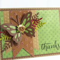 Thank you Card, Handmade Card, Butterfly Card, Thanksgiving Card, Autumn Card, Fall Card.