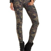 Olive Combo Camouflage Skinny Jeans by Charlotte Russe
