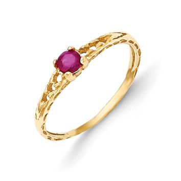 Size 3 14kt Yellow Gold 3mm Genuine Ruby Birthstone Girls Ring