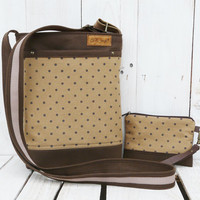 canvas cross body bag brown polka dots canvas adjustable strap hand painted polka dots messenger bag