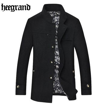 HEE GRAND 2017 Winter Wool & Blends Men Fashion Causal Jacket Turn-down Collar Single Breasted Cashmere Coat MWN275