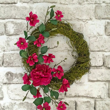 Moss Wreath, Pink Summer Wreath, Door Wreath, Outdoor Wreath, Silk Floral Wreath, Grapevine Wreath,Spring Wreath, Adorabella Wreaths on Etsy