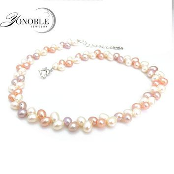 Real freshwater natural pearl necklaces women white multilayer double pearl necklace adjustable fine jewelry wife birthday gift