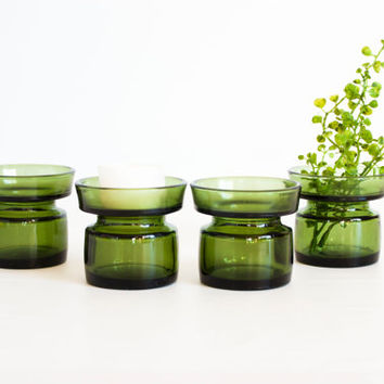 Vintage Green Glass Dansk Candle Holders, SET of 4 Small Bud Vases, Mid Century Decor, IHQ