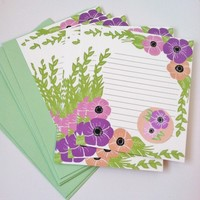 Pastel floral stationery letter set