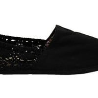 Womens Black Crochet Canvas Espadrilles Shoes