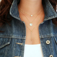 Fashion 3 layer chain necklace Geometry Charms Crystal necklace+Beautiful gift box 080401