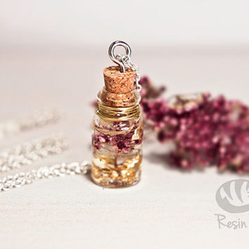 Sweet Miniature Pink Flower Bouquet Bottle Pendant. Gold Leaf and Resin Necklace. Cute Summer Gift. Glass Vial Pendant from Ireland.