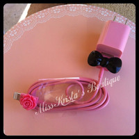 Cute Pink Case USB wall or car charger plus data sync cable chord w/ dot bow and flower for iPhone 4 4s 5