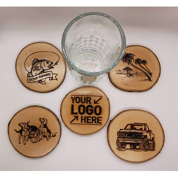 Custom Personalize Your Own Laser Engraved Coasters (Set of 4)