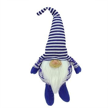 "12.5"" Bearded Blue and White Chubby Smiling Gnome w/ Stripe Hat Plush Table Top Christmas Figure"