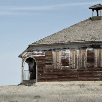 Old Schoolhouse Landscape Photography, Vintage Style Decor, Rustic Wall Art |'Forever Recess'