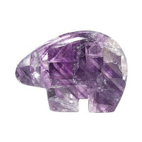 Purple Fluorite Semiprecious Gem Stone Bear Fetish Illinois Finest Color, Gemstone Carving, Polished Rock Sculpture, Native American Motif