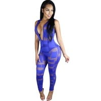 Mesh Sexy See Through Rompers Womens Jumpsuit 2017 New Spring Sleeveless Deep V Neck Patchwork Bodycon Black Club Wear Overalls