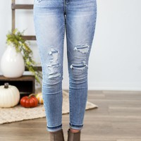 Grace & Lace Patched Mid Rise Jeggings