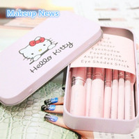 News 7pcs/pack Sweet Pink Hello Kitty Tin Box Package Cosmetic Brush Makeup Brushes 1set cosmetic brush