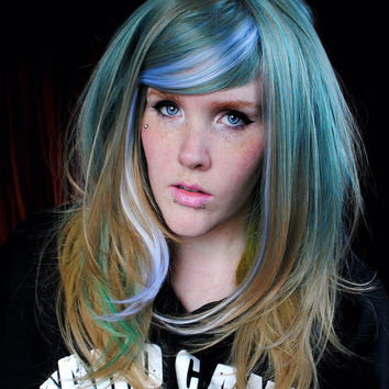 SALE Blue wig, pastel wig // Scene wig, cosplay wig, Hipster wig - Ombre Blue Sandy Blonde Yellow Green Hair // Sea mist