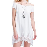 Wholesale White Short Sleeve With Lace Dress (WHITE,L), Summer Dresses - Rosewholesale.com