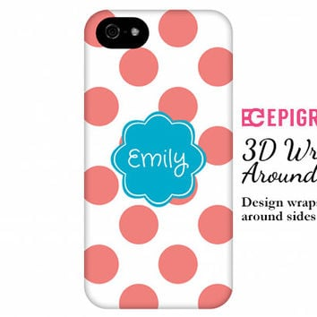 Personalized iPhone 6 case, iPhone 6 plus case, custom iphone 5c case, iPhone 4s phone cases, Galaxy S5 case, polka dot iPhone 6 case