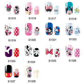 NEW 14 Tips NAIL Art Full Cover Self Adhesive Stickers Polish Foil Transfer Tips Wrap Mickey Minnie Mouse Cartoon Decal Manicure