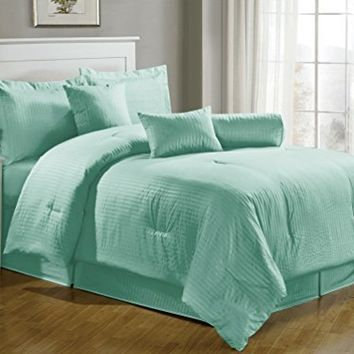 Chezmoi Collection 7-pieces Hotel Dobby Stripe Comforter Set, Queen, Turquoise