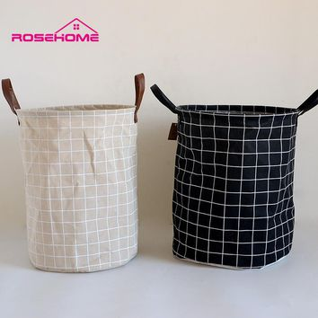 FullLove 35*45cm Plaid Storage Bakset Foldable Linen Cotton Black Laundry Baskets for Dirty Clothes Home Storage Organization