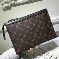 Louis Vuitton Woman Men Envelope Clutch Bag Leather File Bag Tote Handbag G