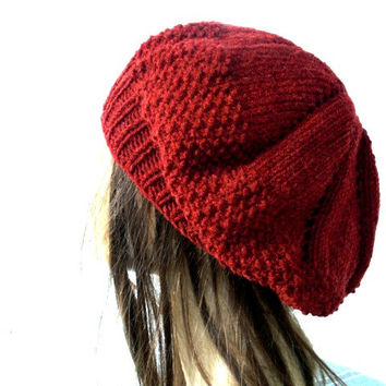 Hand Knit Hat - Womens Hat- Winter Hat -  Fashion -chunky knit Beehive beret in Rust Orange - womens Slouch Beanie    Winter Accessories