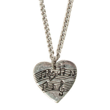 LOVEsick Sheet Music Heart Necklace