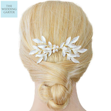 Real Pearl & Gold Leaf Handpainted Floral Bridal Headpiece