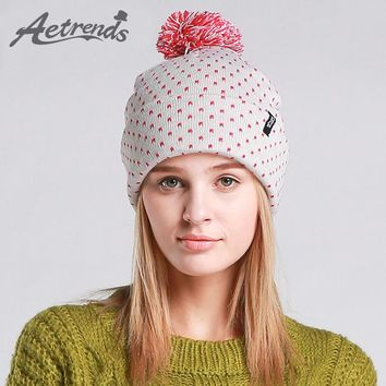 [AETRENDS] Winter Beanie Hats for Women Autumn Female Caps Beanies Pompom with Top Ball Z-3083