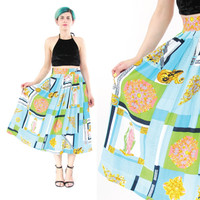 80s Baroque Skirt Turquoise Versace Style Skirt Greek Roman Skirt Summer Maxi Skirt Hip Hop Colorful Pleated Skirt with Pockets (L)