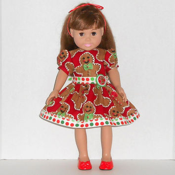 American Girl Doll Red Christmas Dress with Gingerbread Men and Polka Dots