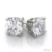 Brilliant Created Diamond Round Basket set Stud Earrings in 14k Solid White Gold