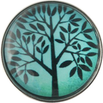 "Chunk Snap Charm Tree Turquoise Background 20mm 3/4"" Diameter"