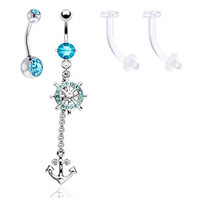 Belly Button Ring Anchor Long Aqua with Aqua Double Gem Belly Ring Surgical Steel and 2 Retainer 14 Gauge (4 Pieces)