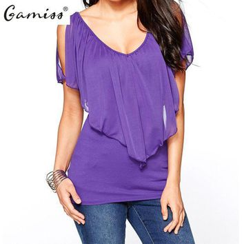 Gamiss New Arrival 2016 Summer Style Women Casual Chiffon Blouse Sexy Deep V Neck Shirts Ladies Fashion Plus Size Tops 4 Colors