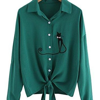 Womens Tie Front Knot Tops Shirts Cat ButtonDown TShirt Cute Blouse