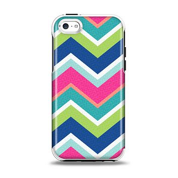 The Vibrant Teal & Colored Layered Chevron V3 Apple iPhone 5c Otterbox Symmetry Case Skin Set