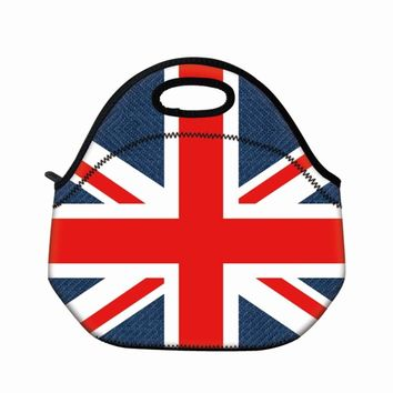 New Union Jack neoprene thermal portable lunch bag women kids baby casual bags box tote waterproof food container