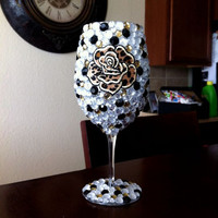 Cheetah Rose Bling Wine Glass