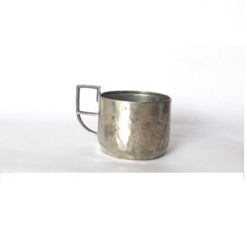 Glass holder. Metal cup. Handled cup. Silver plated copper cup. Tea glass holder. Podstakannik. Hammered copper. Vintage.