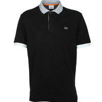 Lacoste Polo Shirts. Lacoste Black Contrast Collar And Cuffs Pique Polo Shirt