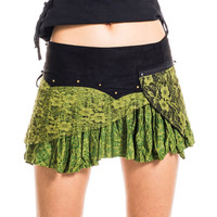GREEN FESTIVAL SKIRT, pixie skirt, psy trance clothing, boho skirt pixie skirt, pocket belt skirt, lace & cotton skirt with pocket