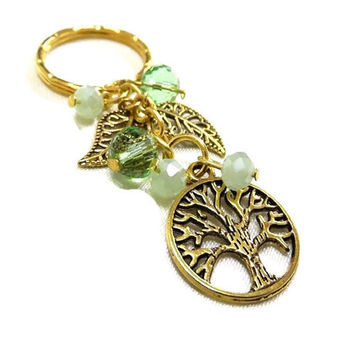 Gold Leaves and Tree of Life Charm/Keyring + Green Crystal Beads,Green Crystal Keyring, Tree of Life Key Chain, Crystal Bag Charm,Leaf Charm