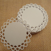 Small Doilies, Paper doilies, Handmade doilies, Die cut doilies-set of 24  White Paper Doilies