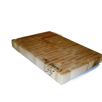 "Big Cutting Board Personalized Name On The Top and Image On Side - 14""x20""x2"""